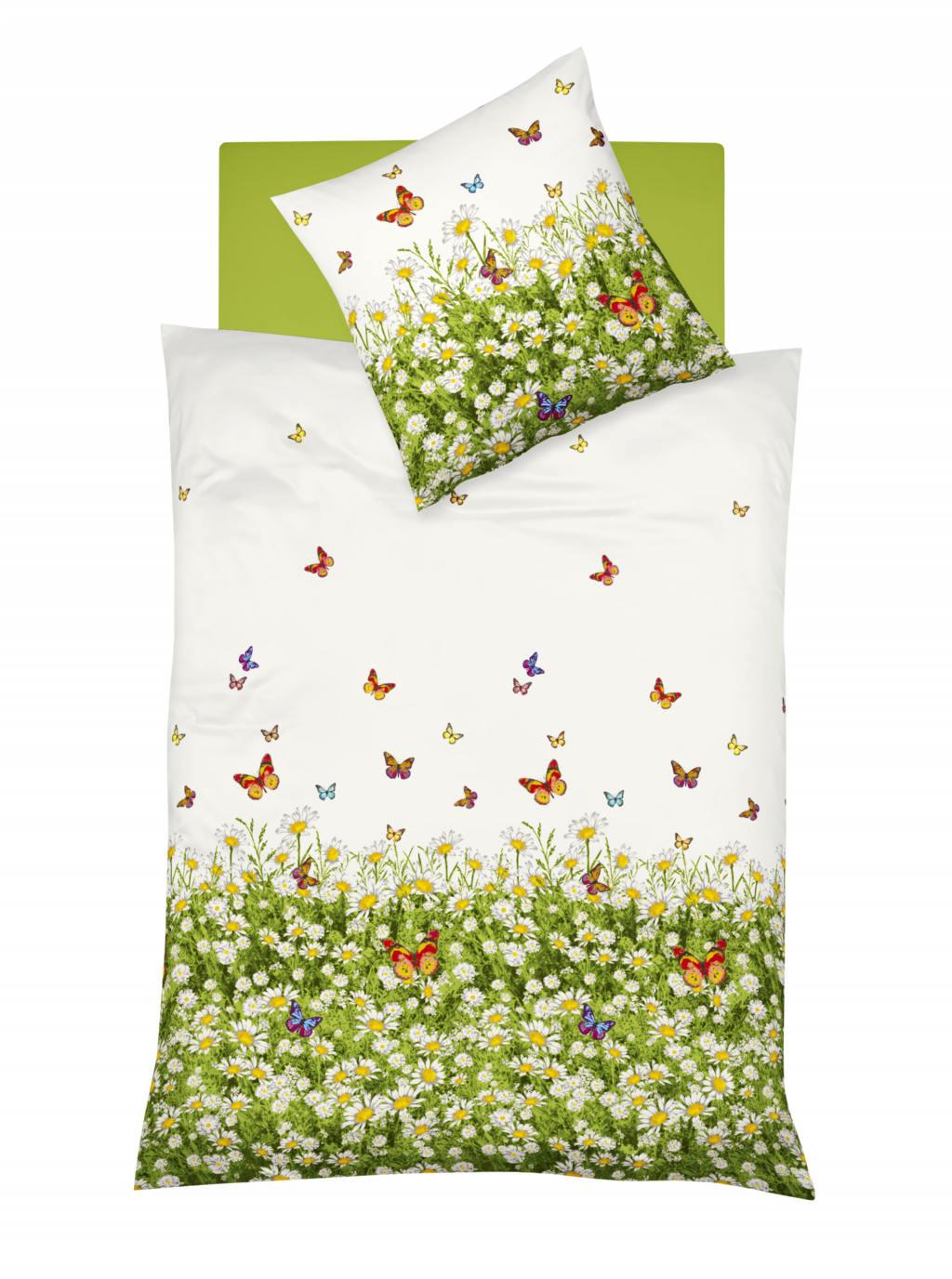 Mako Satin Bettwäsche mit Blumenwiese und Schmetterlingen