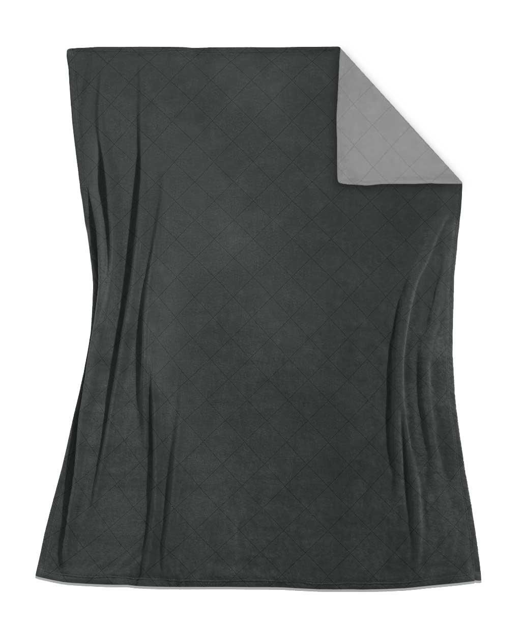 Weiche grau-anthrazitfarbene Tagesdecke mit Wendeseite aus Edel-Flanell