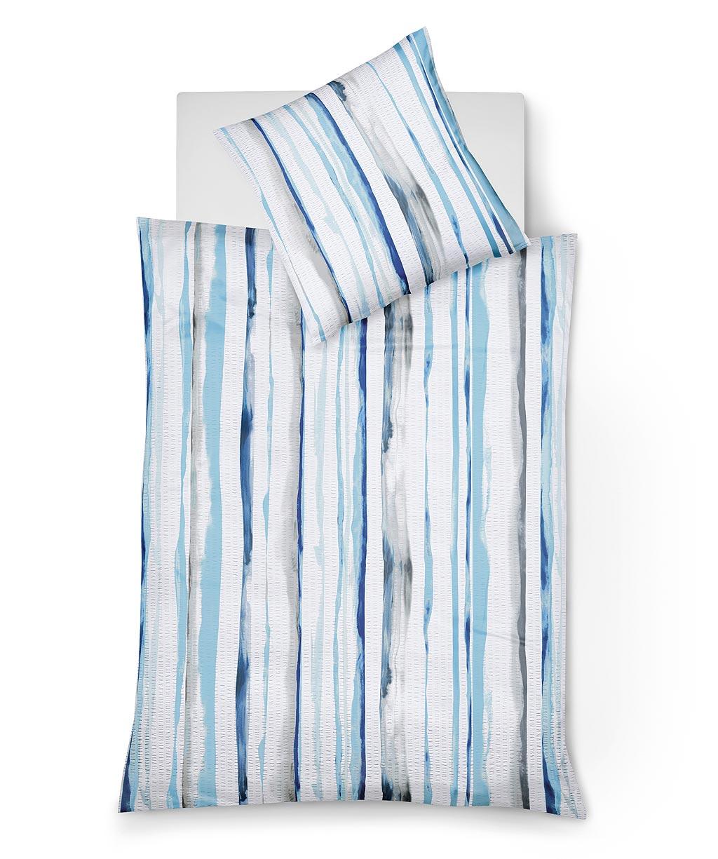 Gestreifte bügelfreie Seersucker Bettwäsche in Weiß-Blau