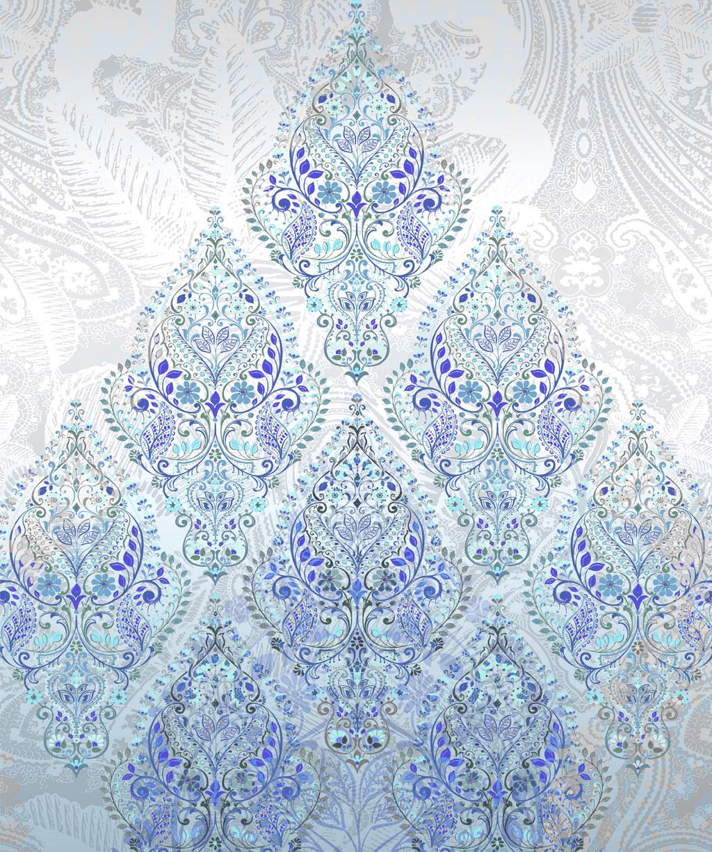 Stoff Plaid als Tagesdecke, Vorhang oder Tischdecke mit Ornamenten