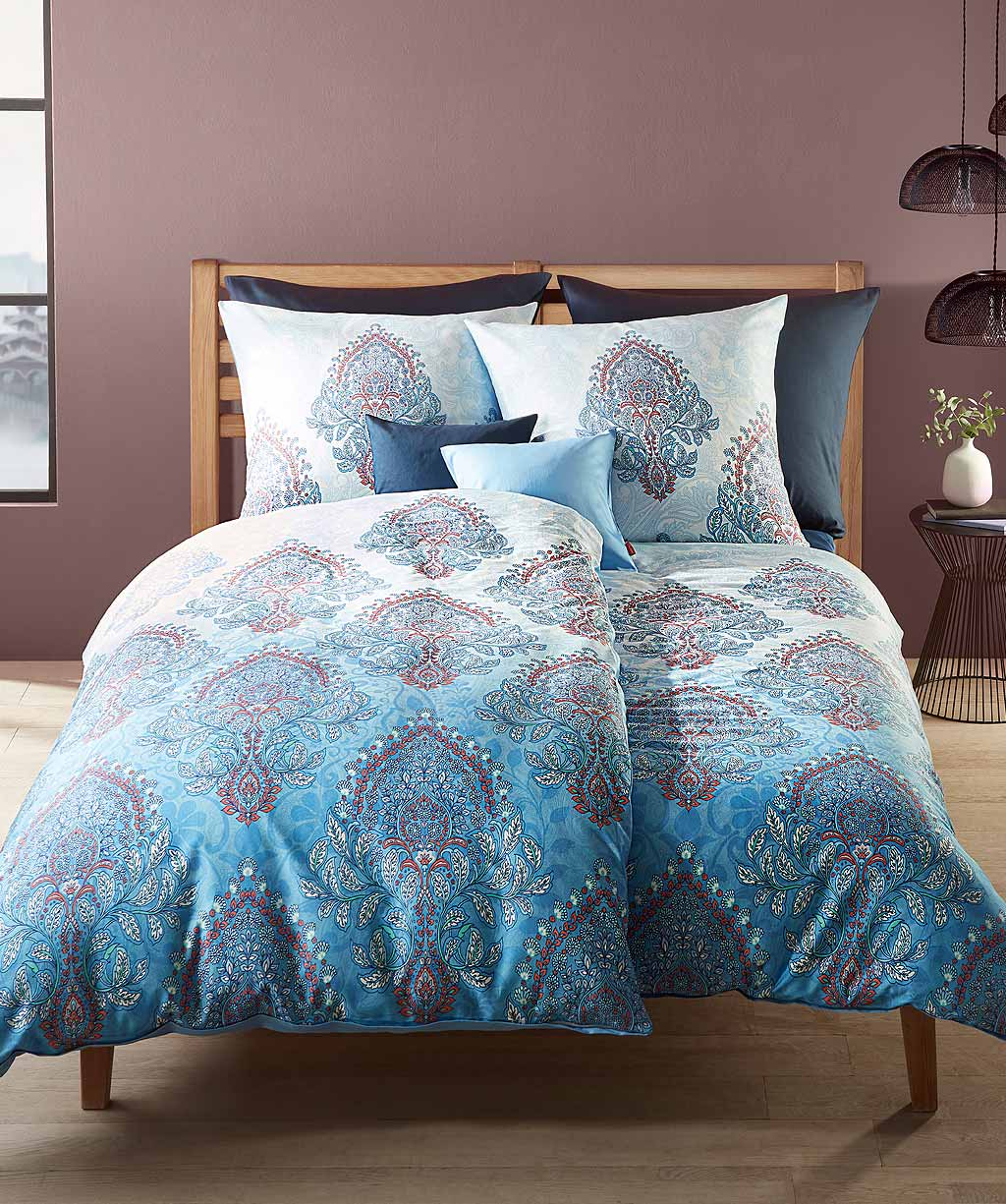 Blaue Ornament Bettwäsche mit hochwertigem Digitaldruck