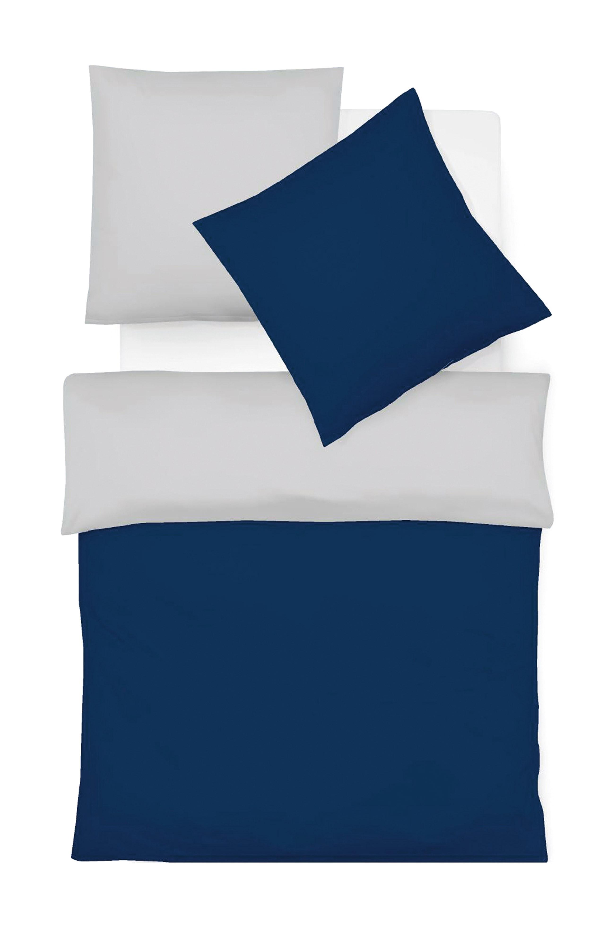 Blaue bügelfreie Interlock Jersey Wendebettwäsche - hochwertige Uni Bettwäsche
