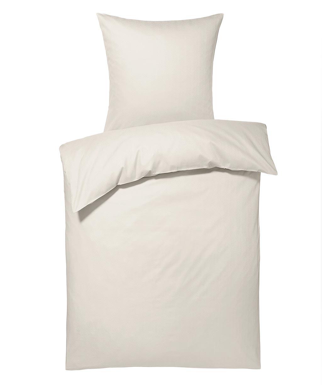 Elegante weiße Damastbettwäsche mit feinem Fischgrät-Muster