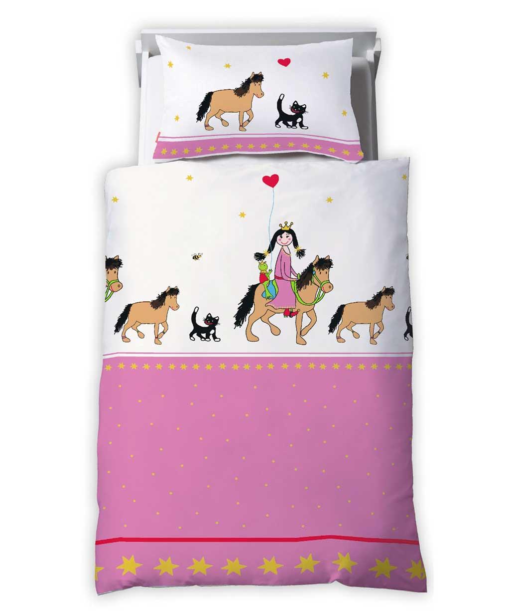 Rosa Kinderbettwäsche für kleine Prinzessinnen mit Pferd