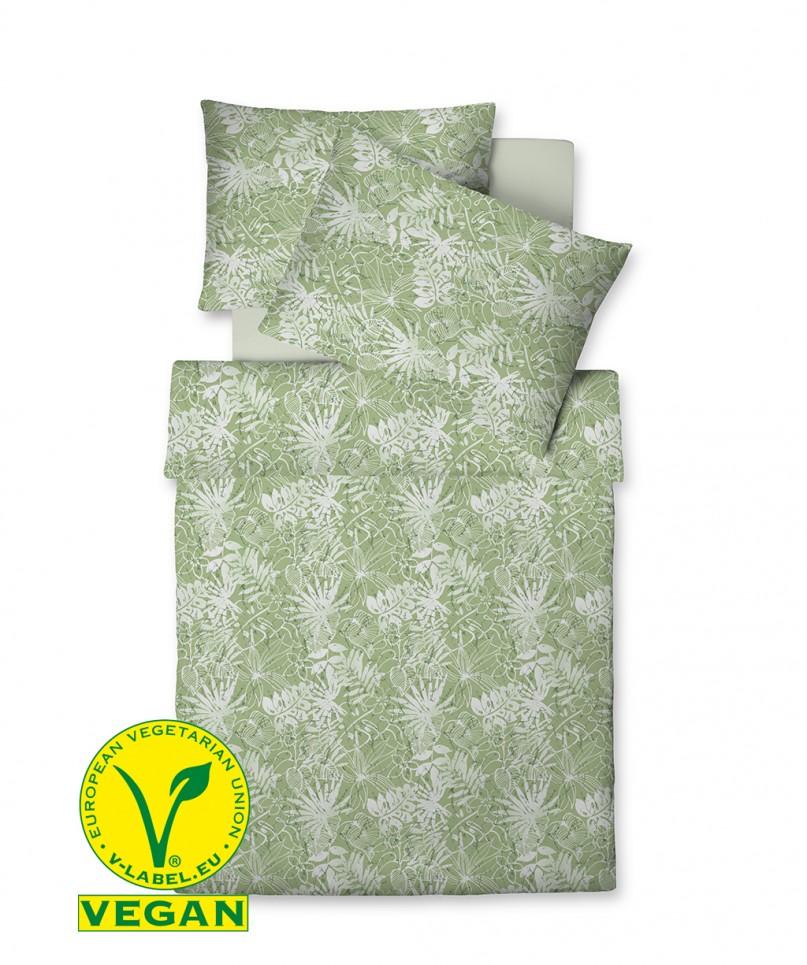 Vegan hergestellte Bettwäsche mit fleurarlem Muster in Grün