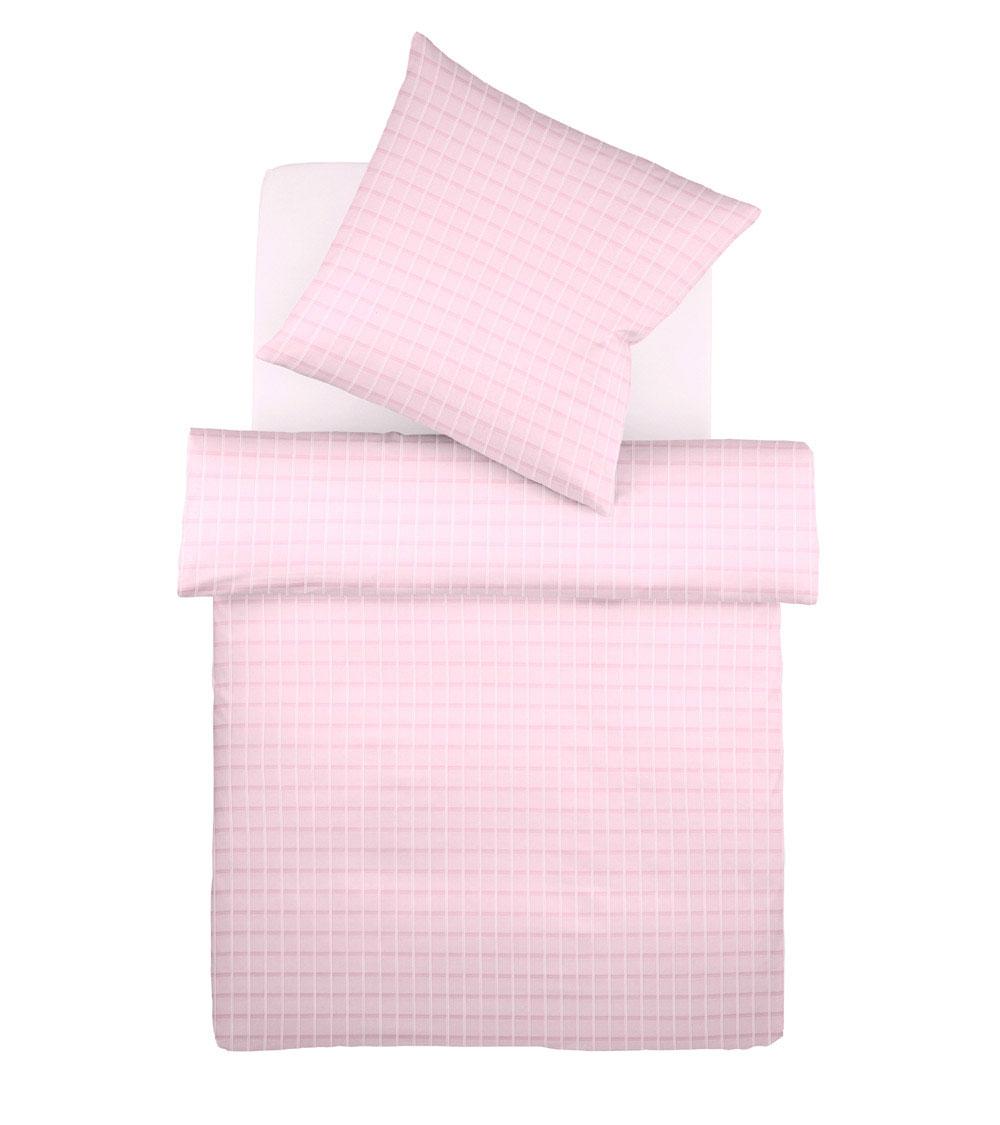 Kissenbezug aus Batist mit Karomuster - Knopf-Loch-Verschluss