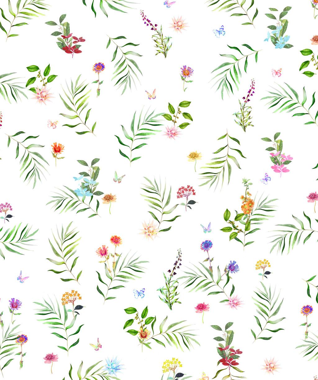 Plaid als Tagesdecke, Vorhang oder Tischdecke mit bunten Blumen