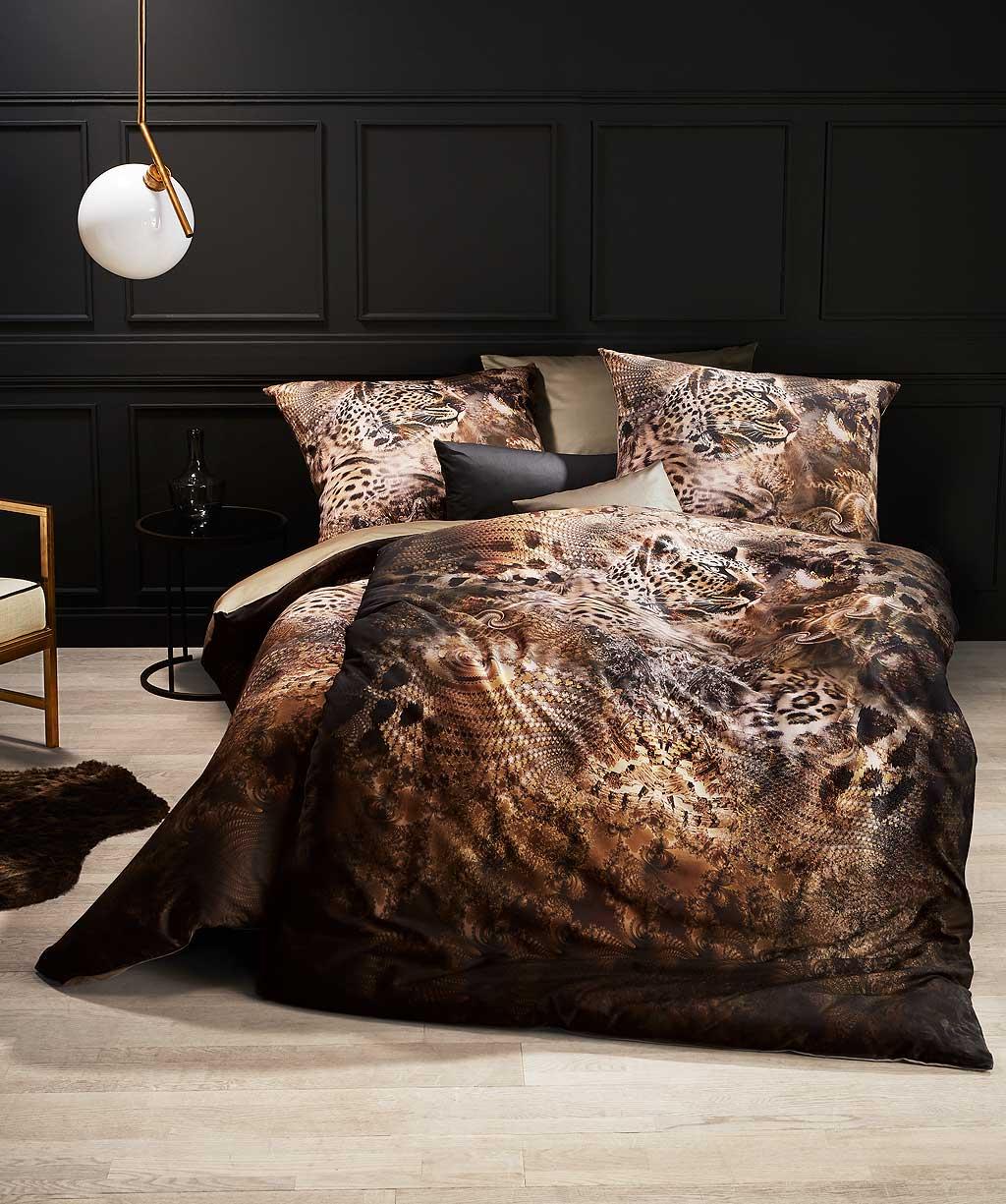 Exotische Winter Bettwäsche aus weichem Fein-Biber mit Tiger Print