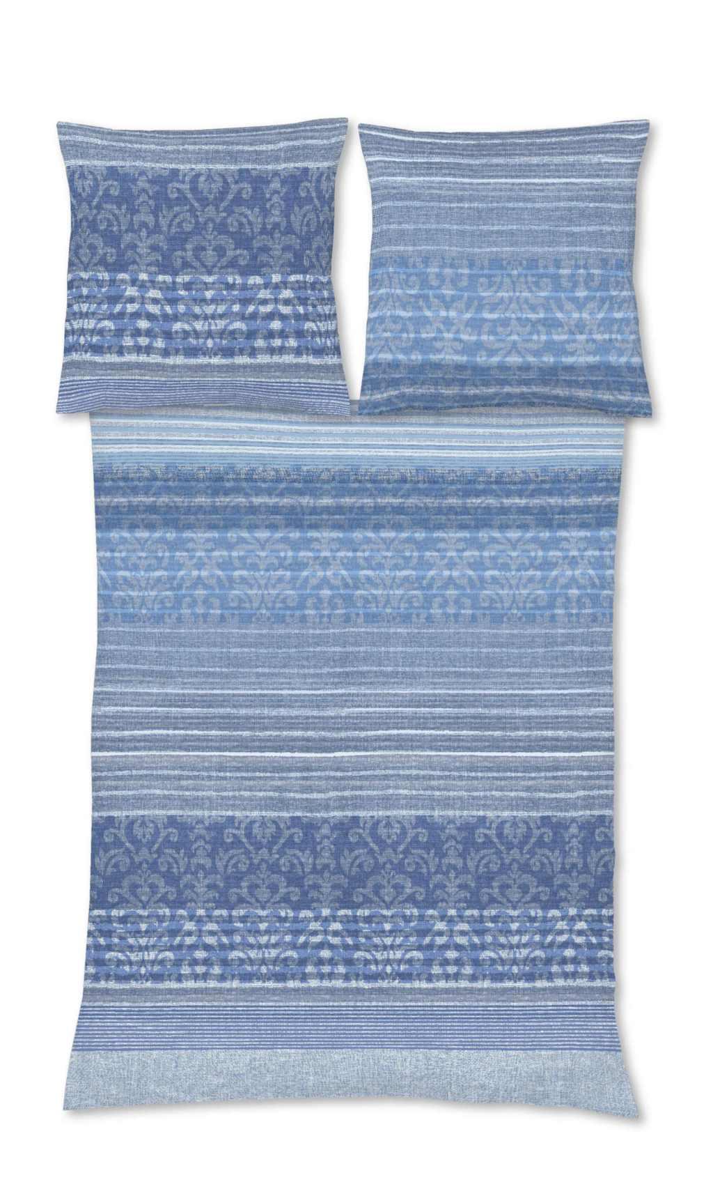 Blaue Ornament Biber Bettwäsche für den Winter