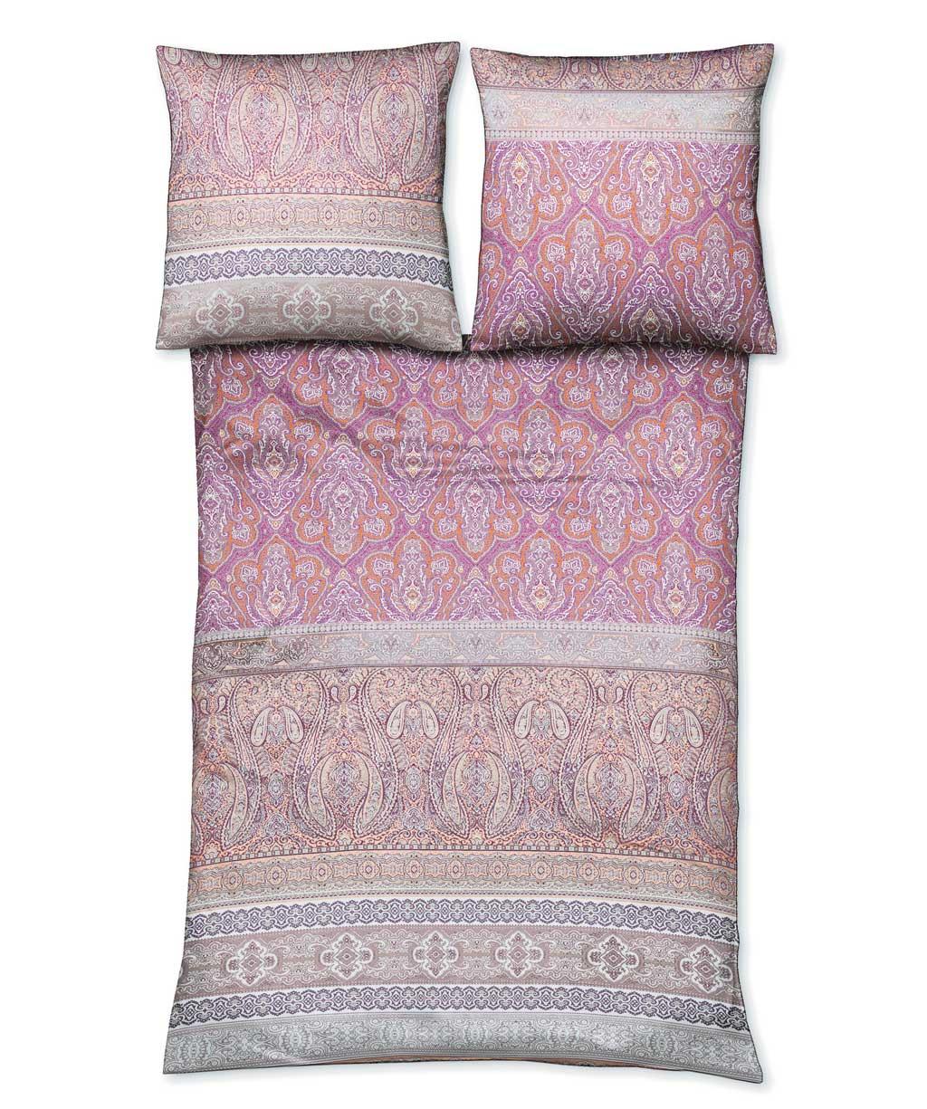 Rosa Mako Satin Bettwäsche mit orientalischen Ornamenten