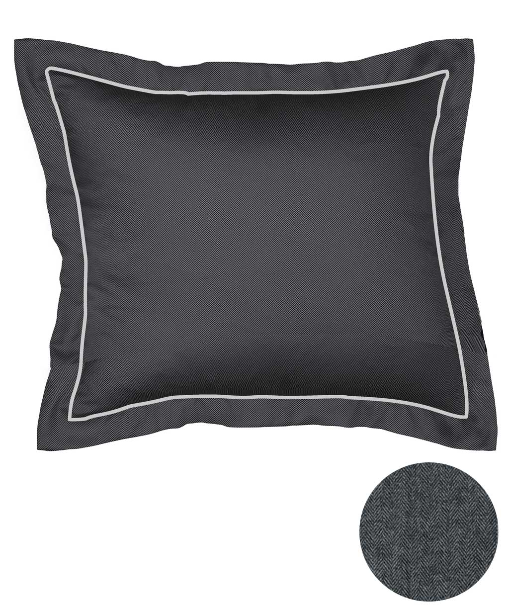 Flanell Uni Kissenbezug mit Stehsaum - Fischgrät Muster in Grau