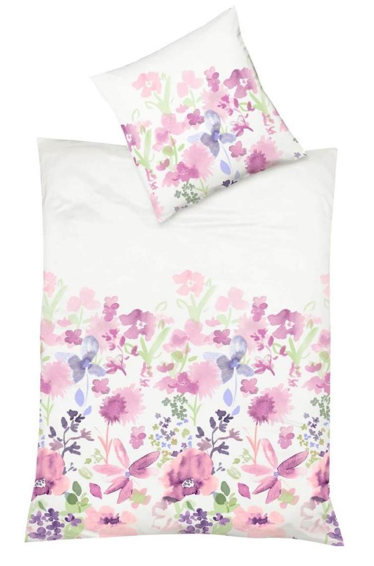 Rosa Blumenbettwäsche aus edlem Mako Satin