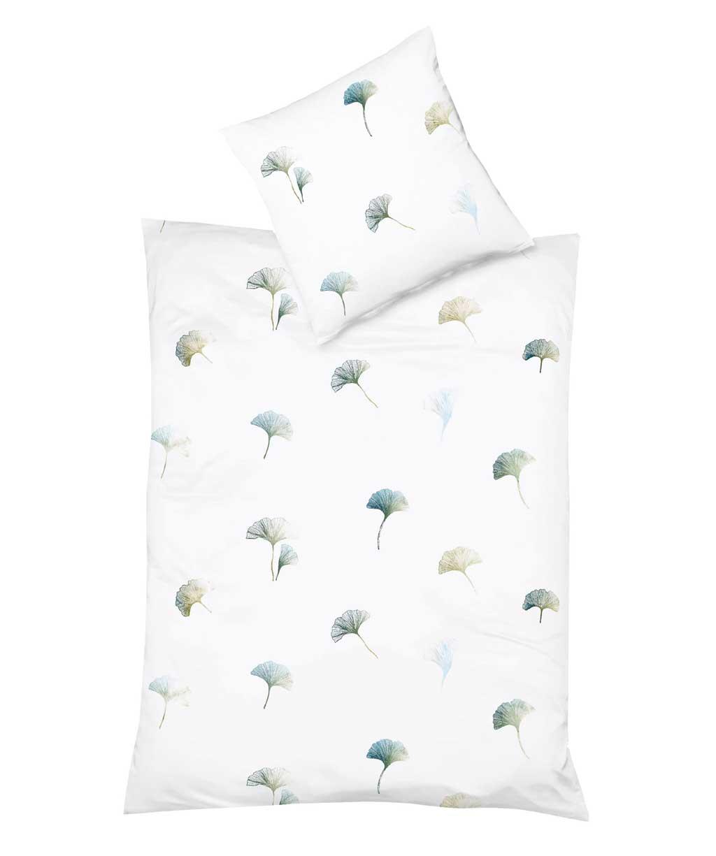 Herrlich leichte Mako Batist Bettwäsche mit Ginkgoblättern in Grün