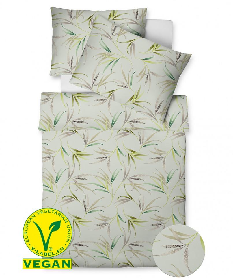 Vegan hergestellte Bettwäsche mit floralem Muster in Grün