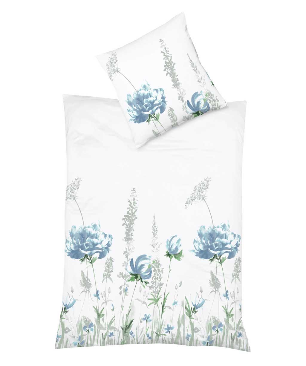 Blaue Blumen Bettwäsche aus sommerlich leichtem Mako Batist