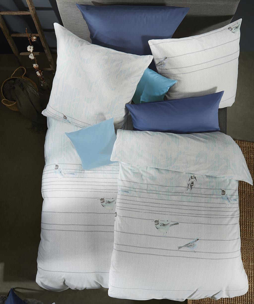 Weiche Feinbiber Bettwäsche mit Vögeln für den Winter