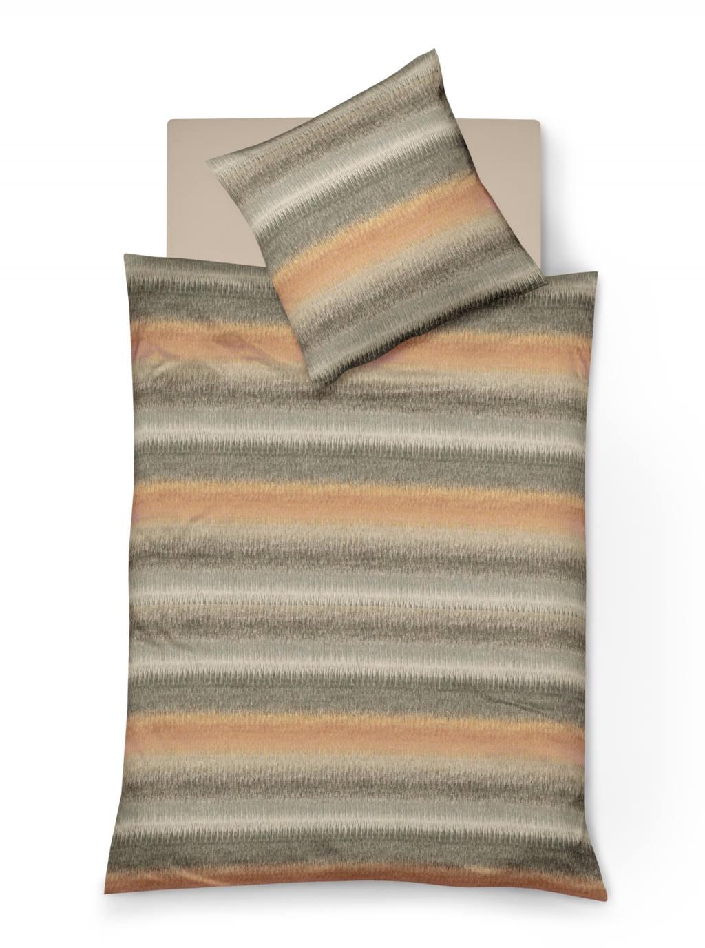 Warme Winterbettwäsche aus Biber mit Streifenmuster