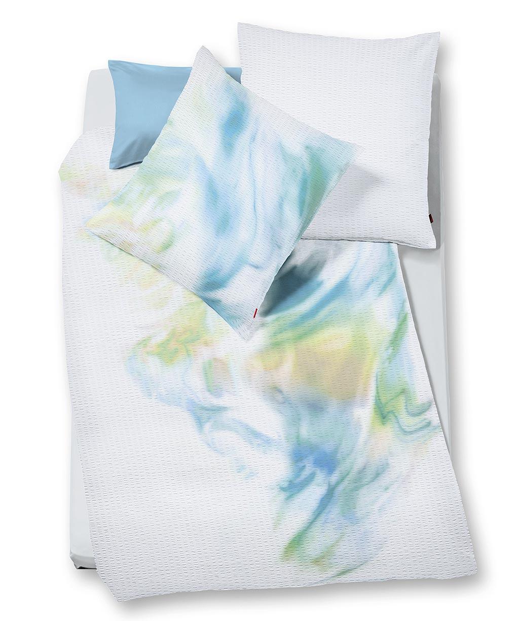 Sommerbettwäsche aus bügelfreiem Seersucker mit Grafikmuster