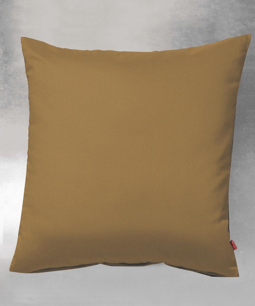 Kissenbezug aus einfarbigem Flanell mit Fischgrat in Gold