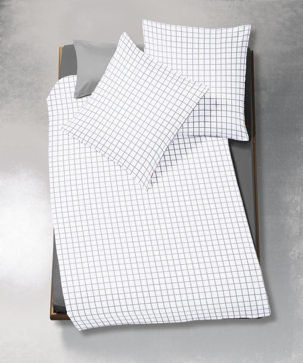 Elegante Batistbettwäsche mit feinen Karos - Reißverschluss