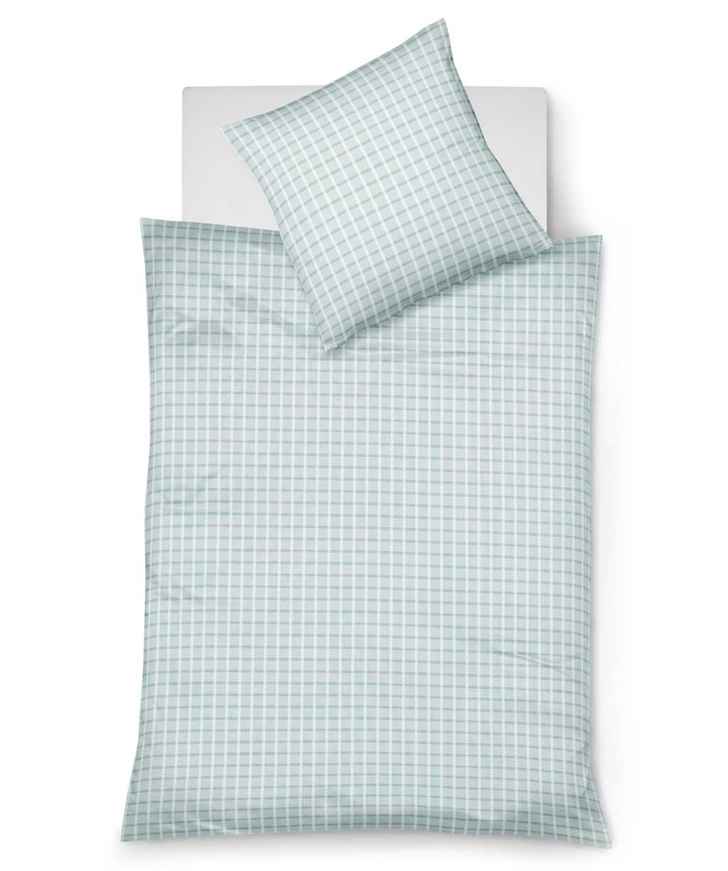 Elegante Sommerbettwäsche aus bügelfreiem Seersucker in Grau