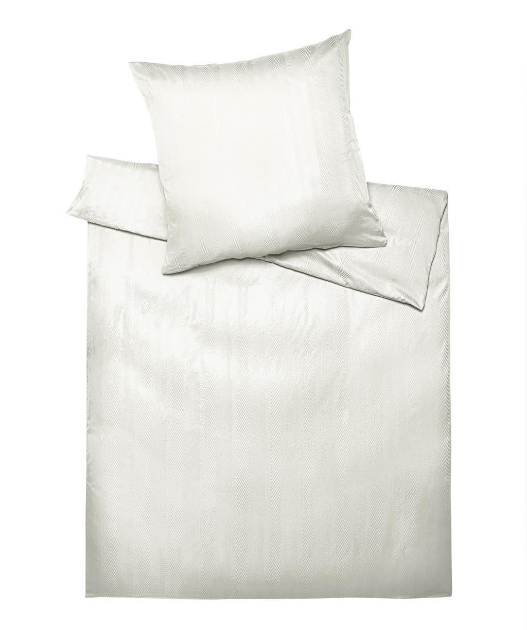 Grafische, weiße Damastbettwäsche mit Zick-Zack-Muster