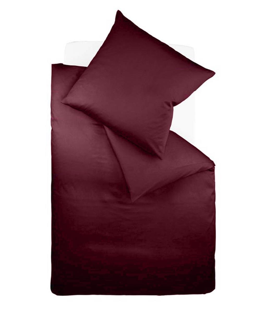 Mako Satin Uni Bettwäsche rosa mit Reißverschluss