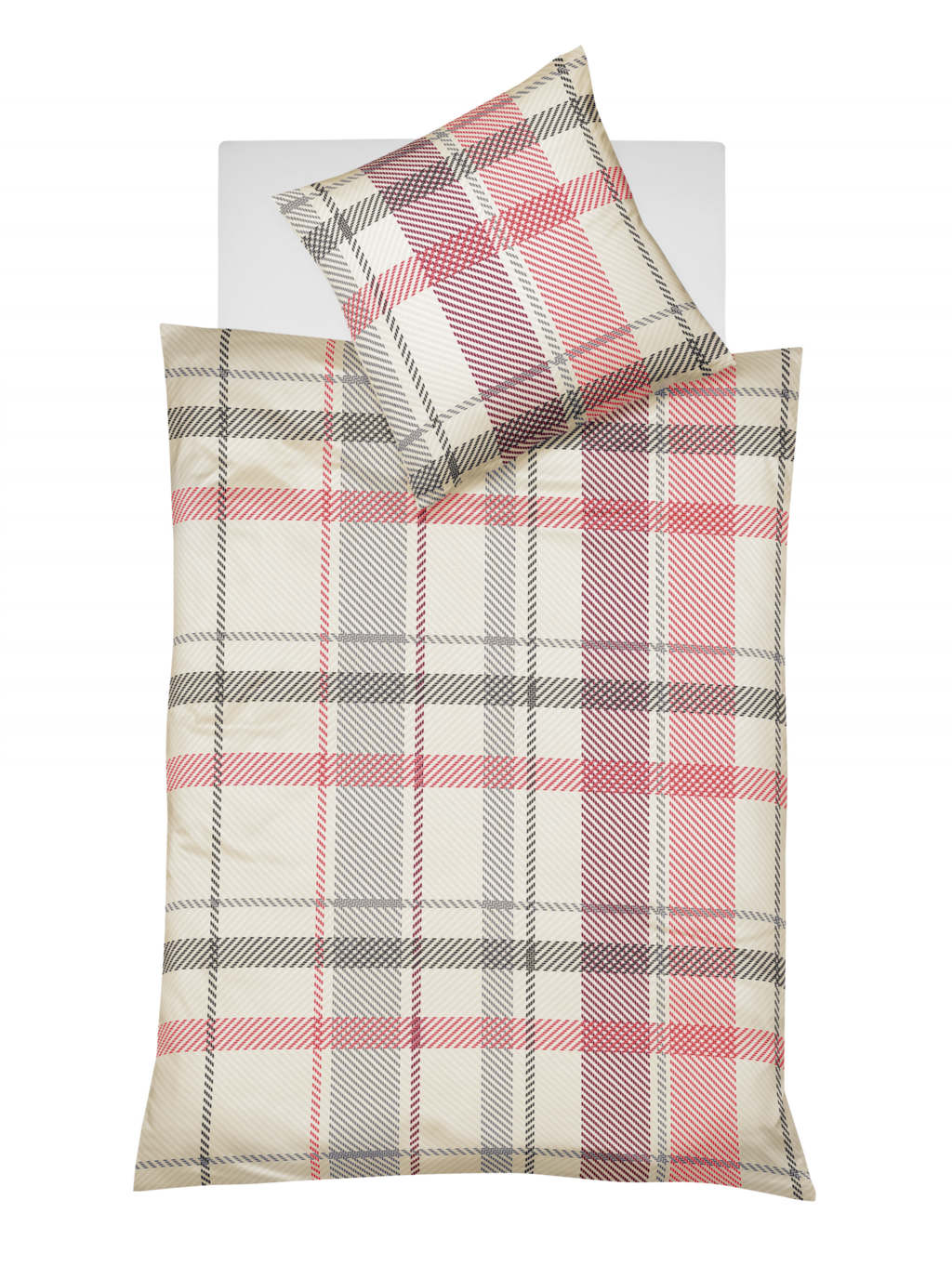 Karierte Winterbettwäsche aus weichem Biber in Rot und Grau