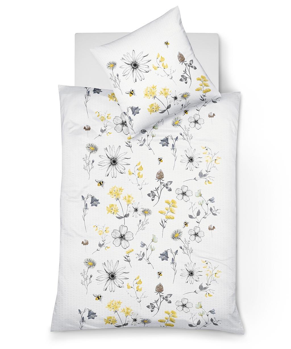 Blumenbettwäsche aus bügelfreiem Seersucker - pflegeleicht