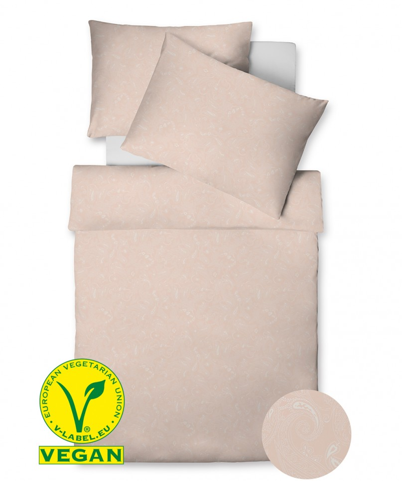 Vegan hergestellte Bettwäsche mit dezenten Paisley Muster in Beige