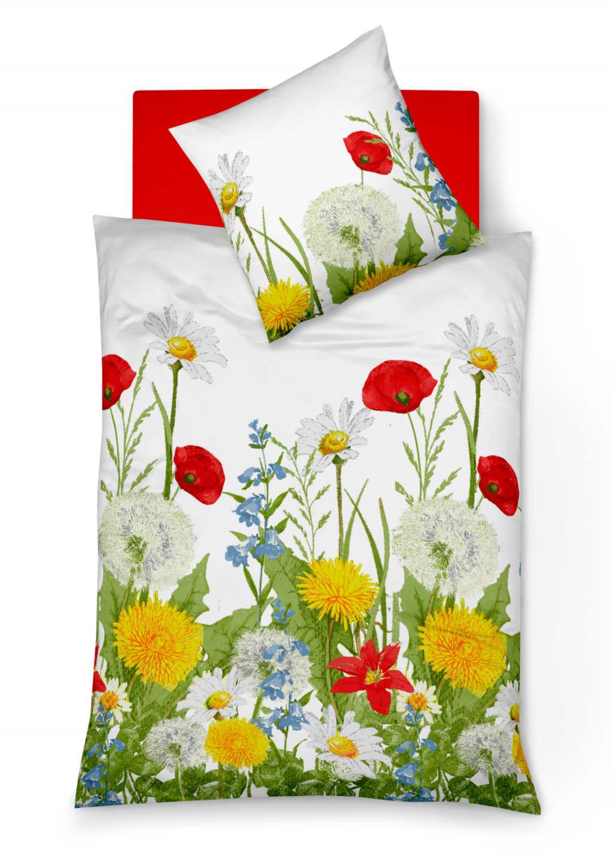 Weiße Blumen-Bettwäsche mit Pusteblume und Mohnblume