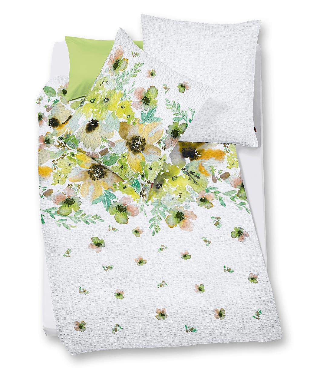 Blumenbettwäsche aus bügelfreiem Seersucker für den Sommer